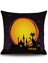 cheap -Halloween Night Cushion Cover Black Cat Castle Square Linen  Decorative Throw Pillow Case