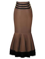 Damen Übergrössen Röcke,Trompete/Meerjungfrau einfarbig Spitze,Ausgehen / Lässig/Alltäglich Vintage Hohe Hüfthöhe Maxi Reisverschluss