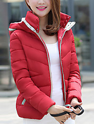 Women's Regular Padded Coat,Simple Casual/Daily Solid-Polyester Polypropylene Long Sleeve Hooded Blue / Pink / Red