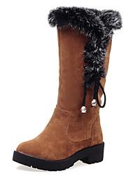 Women's Boots Fall / Winter  Fur / Fleece Party & Evening / Dress / Casual Platform Bowknot / Fur Black / Brown / Yellow