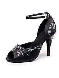 cheap -Women's Dance Shoes Satin Latin / Salsa Sandals  Rhinestone Heel Indoor / Performance Black / Pink / Purple Customizable