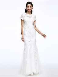 cheap -Mermaid / Trumpet Jewel Neck Sweep / Brush Train Lace Wedding Dress with Flower by LAN TING BRIDE®