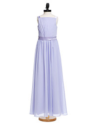 cheap -A-Line Straps Floor Length Chiffon Junior Bridesmaid Dress with Sash / Ribbon by LAN TING BRIDE®