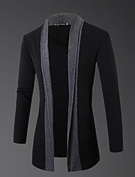 cheap -Men's Long Sleeves Cardigan - Color Block Round Neck