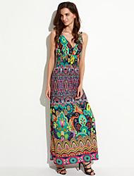 cheap -Women's Plus Size Boho Sheath Dress Flower Print Maxi V Neck