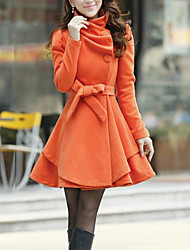 cheap -Women's Going out Work Simple Casual Winter Fall Coat,Solid V Neck Long Sleeve Long Wool Others