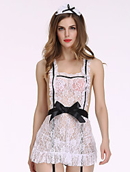 Women's Gartered Lingerie Nightwear Sexy / Lace Jacquard-Thin Polyester White with Headpieces
