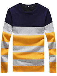 cheap -Men's fashion Slim Stripe Spell Color Plus Cashmere Knitted PulloversPolyester Long Sleeve Blue / Red / Gray