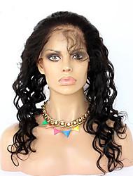 Недорогие -360 Лобовой Свободные волны Человеческие волосы закрытие Умеренно-коричневый Французское кружево 75g-95g грамм Средние Размер крышки