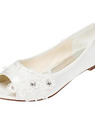 abordables -Mujer Zapatos Satén Elástico Primavera / Verano Bailarinas Tacón Plano Punta abierta Cristal Blanco / Marfil / Boda / Fiesta y Noche