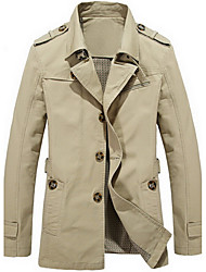 cheap -Men's Daily Simple Casual Winter Fall Regular Trench coat,Solid Collar Cotton Blends Formal Style