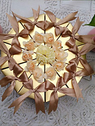 cheap -Pyramid Pearl Paper Favor Holder with Ribbons Flower Favor Boxes - 10
