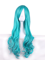 Synthetic Cosplay Wigs Neliel Tu Oderschvank Long Curly Blue Costume Capless Wig
