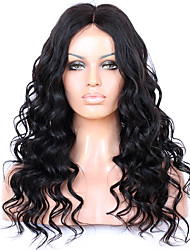 cheap -Remy Human Hair Lace Front Wig Wavy 130% 150% 180% Density 100% Hand Tied African American Wig Natural Hairline Short Medium Long Women's