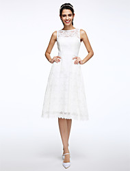 cheap -A-Line Jewel Neck Knee Length Lace Made-To-Measure Wedding Dresses with Sash / Ribbon by LAN TING BRIDE® / Little White Dress