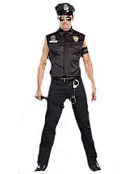 Недорогие -Полиция Карьера костюмы Косплэй Kостюмы Костюм для вечеринки Карьера костюмы Муж. Косплей из фильмов Черный Кофты Брюки Шапки Хэллоуин Карнавал Полиэстер