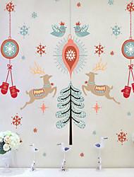 economico -Buon Natale tre generazioni di pvc adesivi murali removibili trasparenti 60 * 90cm