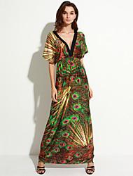 Women's Boho Holiday / Plus Size Boho Swing Dress,Print Deep V Maxi Sleeveless Green Cotton / Polyester Summer