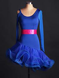 Latin Dance Dresses Performance Spandex Lace Organza Ruffles Crystals/Rhinestones 1 Piece Long Sleeve High Dress