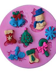 economico -serie di natale doppio zucchero modalità saponi stampo in silicone decorazione tortiera neve