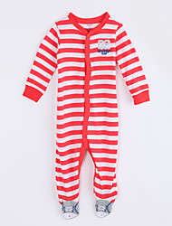 cheap -Baby Daily Striped One-Pieces, Cotton Fall Long Sleeves Red