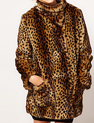 cheap -Women's Party Daily Plus Size Vintage Street chic Sophisticated Winter Fur Coat,Leopard Stand Long Sleeve Long Faux Fur