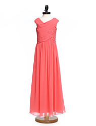 cheap -A-Line V Neck Floor Length Chiffon Junior Bridesmaid Dress with Ruched Criss Cross by LAN TING BRIDE®