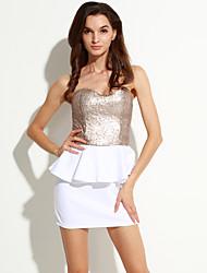 Damen Kleid - Hülle Sexy / Party Patchwork Mini Polyester Trägerlos