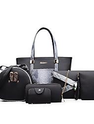 Donna Sacchetti Per tutte le stagioni PU (Poliuretano) sacchetto regola Set di borsa da 6 pezzi per Casual Formale Bianco Nero Grigio