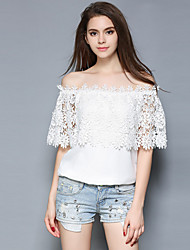 Women's Off The Shoulder|Lace Going out / Casual/Daily Simple / Street chic All Seasons BlouseSolid Boat Neck Short Sleeve White
