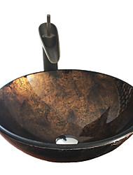 baratos -Antiquado T12*Φ420*H145MM Redondo material dissipador é Vidro TemperadoPia de Banheiro / Torneira de Banheiro / Anél de Instalação de