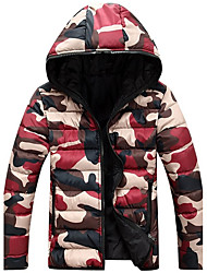 cheap -Men's  Winter Large Size  Casual Work Long Sleeve Camouflage Printed Turtleneck Zipper Cotton Warm Hooded Coat  Jacket