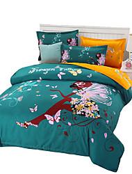 preiswerte -Bettbezug-Sets Blumen 4 Stück Reaktivdruck 1 Stk. Bettdeckenbezug 2 Stk. Kissenbezüge 1 Stk. Betttuch