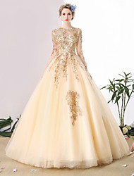 cheap -Ball Gown Scoop Neck Cathedral Train Beaded Lace Custom Wedding Dresses with Beading Lace by SG
