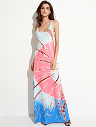 Women's Holiday Beach Boho Shift Dress,Print Strap Maxi Sleeveless Polyester Summer Mid Rise Micro-elastic