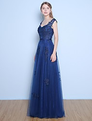 A-Line Straps Floor Length Lace Satin Tulle Formal Evening Dress with Beading Appliques Sash / Ribbon Sequins by Yaying