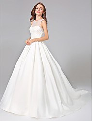 cheap -Ball Gown Illusion Neckline Chapel Train Mikado Custom Wedding Dresses with Beading Sash / Ribbon Button Ruched by LAN TING BRIDE®