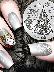 cheap -2016 Latest Version Fashion Christmas Tree Pattern Nail Art Stamping Image Template Plates