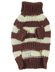 Dog Sweater Dog Clothes Keep Warm Stripe Orange Coffee