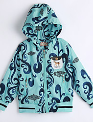 cheap -Unisex Daily Print Jacket & Coat,Cotton Fall Long Sleeve Light Blue