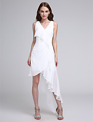 cheap -A-Line V Neck Asymmetrical Chiffon Bridesmaid Dress with Pleats by LAN TING BRIDE®