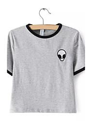 cheap -Women's Cotton T-shirt - Striped, Flower