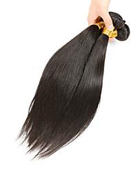 Недорогие -Натуральные волосы Бразильские волосы Человека ткет Волосы Прямые Наращивание волос 3 предмета Черный