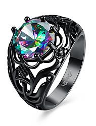 billige -Dame Kvadratisk Zirconium Band Ring - Zirkonium Blomst Personaliseret, Mode 6 / 7 / 8 Sort Til Fest / Forlovelse / Daglig