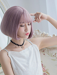 cheap -NEW Milky Lavender Color Short Fashion Beauty Synthetic Wigs Heat Resistant Wig for Dailly or Cosplay