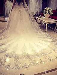 cheap -One-tier Wedding Veil Cathedral Veils With Lace Net Wedding Accessories