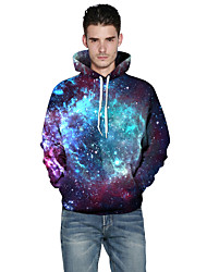 Men's Plus Size Daily Sports Casual Active Hoodie 3D Print Round Neck Micro-elastic Cotton Polyester Long Sleeve Winter Fall