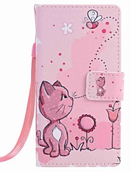 cheap -For Huawei P9 lite P8 lite Cats and Bees Painting PU Phone Case