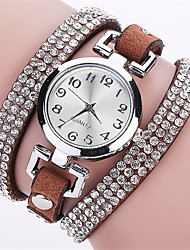 cheap -Women's Wrist Watch Imitation Diamond / Punk / Cool PU Band Charm / Sparkle / Vintage Black / Blue / Silver