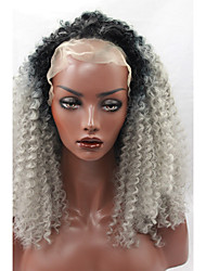 Ombre Grey Kinky Curly Synthetic Glueless Lace Front Wig Heat Resistant Synthetic Afro Hair Wig